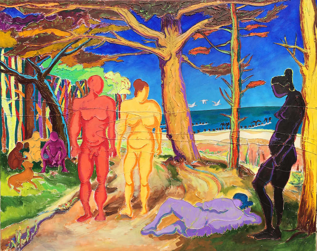 The Secret Still Remains - Colourful Beach Painting using Acrylic & Paste on Canvas