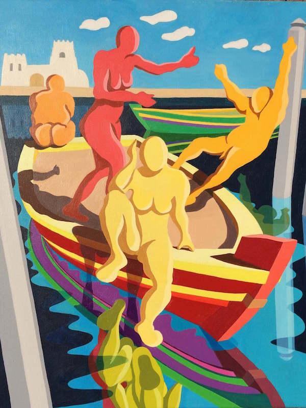 Shove - Dubai: Colourful Figurative Painting using Acrylic on Canvas