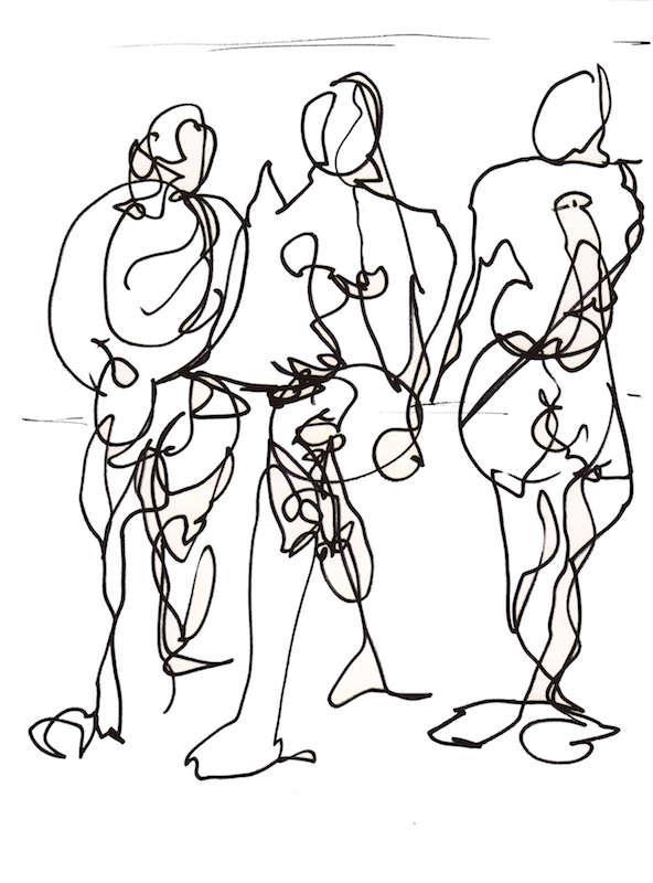 Sketch: Group of Men - Baltic Beach