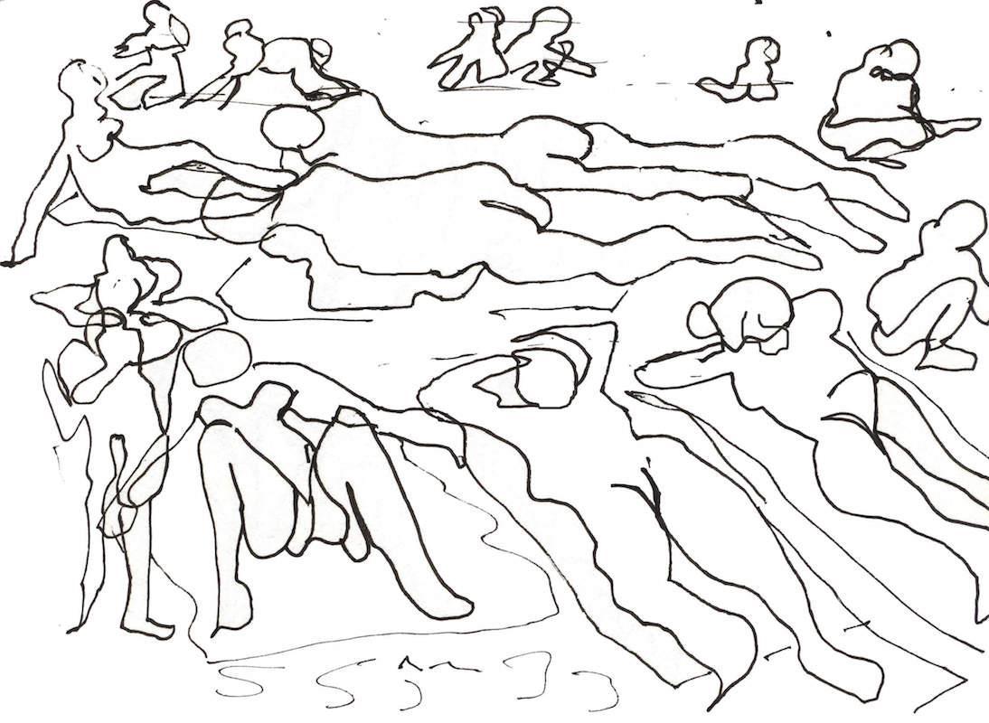 Sketch: Sunbathers - Baltic Beach
