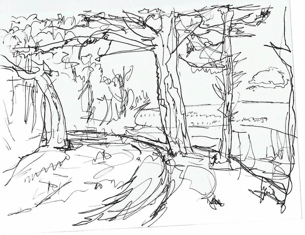 Sketch: View of Chalupy Beach from Coastline Forest - Poland