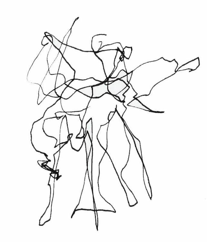 Figurative Sketch: Auto Drawing Flamenco Dancer Madrid 2